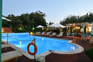 pool villa katerina by night